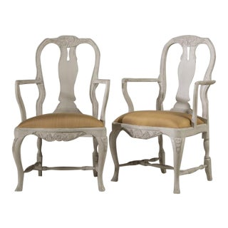 Pair of Swedish Rococo Style Painted Armchairs, 1920s For Sale