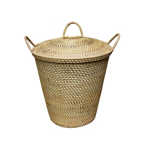Rattan Basket With Dainty Handles & Top For Sale