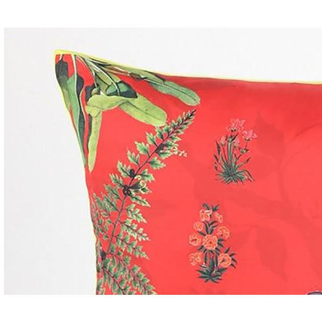 Early 21st Century Boho Chic Elephant Silk Cushion Red Gray - a Pair For Sale - Image 5 of 9