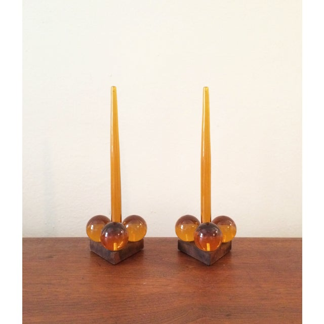 Vintage Amber Resin & Wood Candleholders - A Pair - Image 7 of 7