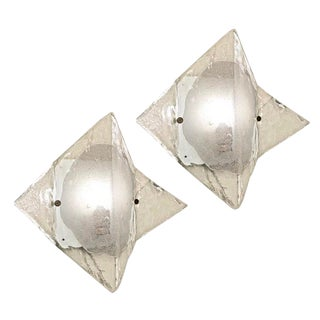 Pair of Murano Glass Sconces or Flush Mounts by Mazzega For Sale