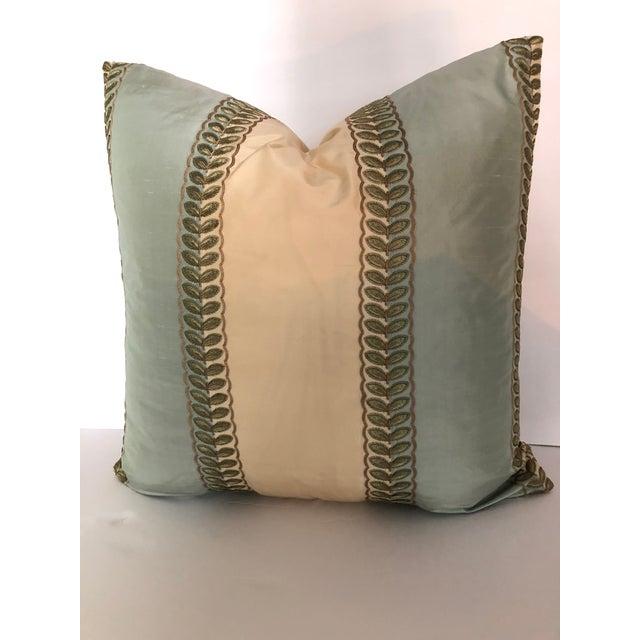 "Manuel Canovas Manuel Canovas Mint Green & Cream Stripe, Goose Down Insert Pillow 22"" x 22"" For Sale - Image 4 of 4"