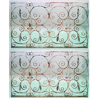 Iron Neo-Classic Iron Scroll Gates- a Pair For Sale