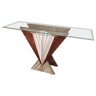 Mid-Century Modern Art Deco Esque Brushed Steel Console Table For Sale