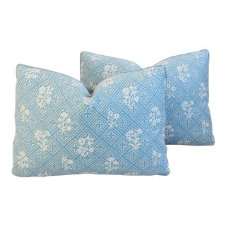 Italian Blue & White Mariano Fortuny Feather/Down Pillows - Pair For Sale