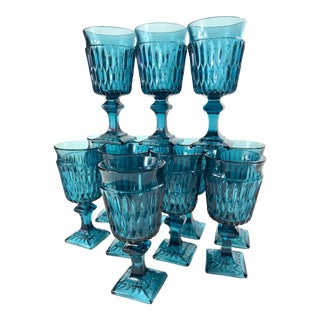 Mid-Century Mt. Vernon Cerulean Blue Wine Glasses by Indiana Glass - Set of 12 For Sale