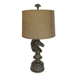 Art Deco Horse Head Brass Lamp W/ Shade For Sale