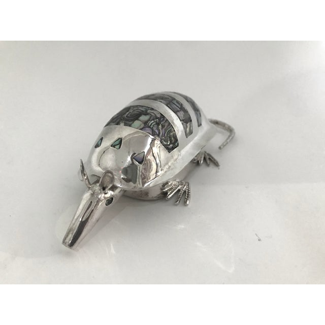 Mid 20th Century 20th Century Figurative Silver Armadillo Form Lidded Box With Abalone Shell For Sale - Image 5 of 7