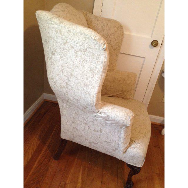 Queen Anne 20th Century Queen Anne Antique White Upholstered Mahogany Wingback  Chair For Sale   Image