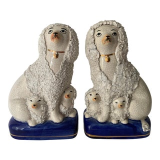 Vintage Staffordshire Poodles With Pups - a Pair For Sale