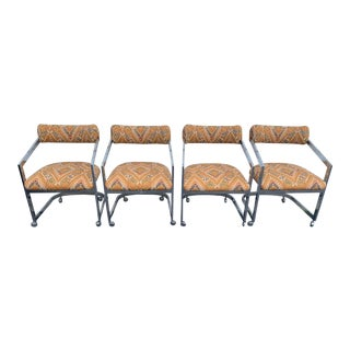Milo Baughman Style Cantilever Arm Chairs- Set of 4 For Sale