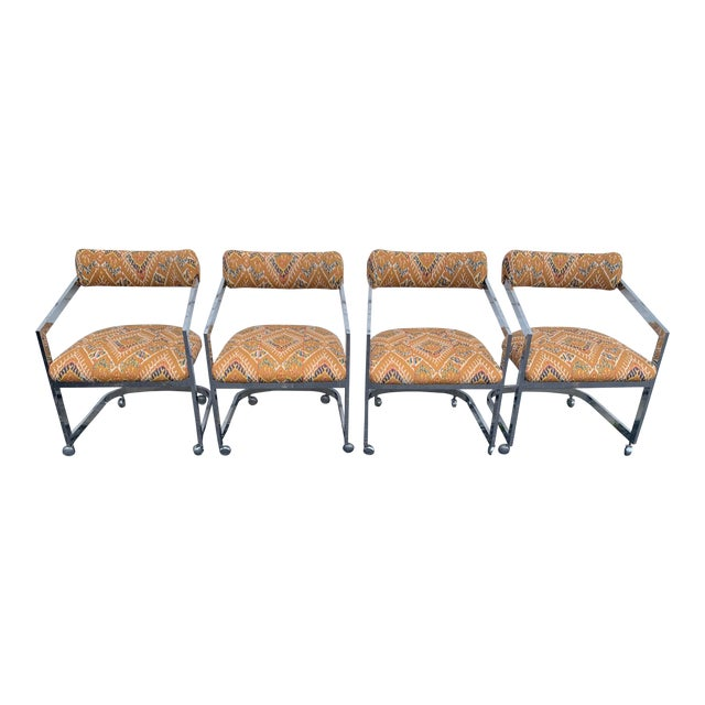 Milo Baughman Style Cantilever Arm Chairs- Set of 4 | Chairish