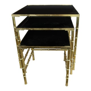 1960s Faux Bamboo Nesting Tables With Amethyst Glass - Set of 3 For Sale