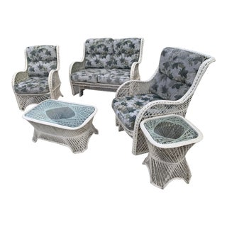 Russell Woodard Glider Loveseat & Glider Chairs Set - 5 Pieces For Sale