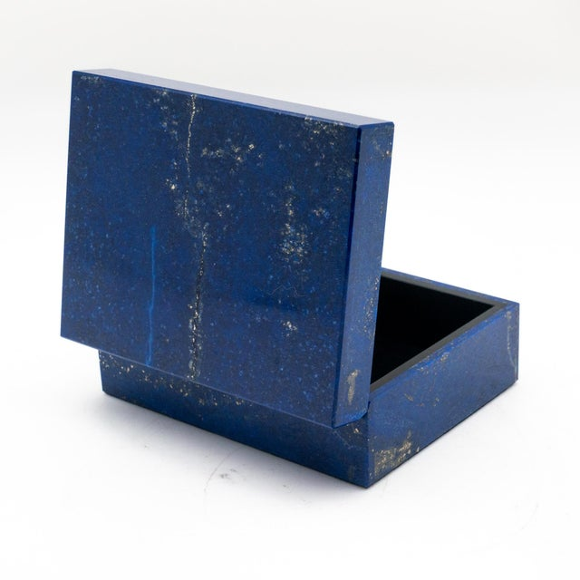 Early 21st Century Lapis Lazuli Box with Hinged Lid For Sale - Image 5 of 6