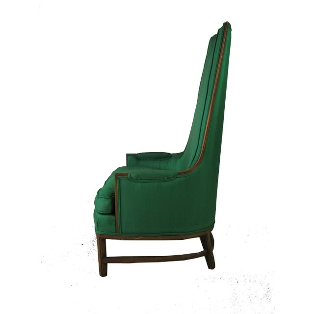 Mid-Century Emerald Highback Lounge Chair - Image 3 of 6