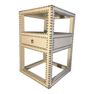 Bungalow 5 Marco Off-White Grasscloth Side Table For Sale