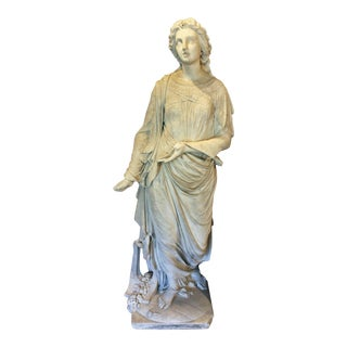 Mid 19th Century Continental Marble Statue of Standing Woman For Sale
