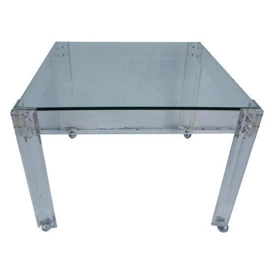 Square Lucite Dining Table Base - Image 1 of 8