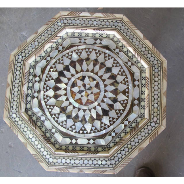 Islamic Moroccan Inlay Side Tables in Mother-Of-Pearl For Sale - Image 3 of 4
