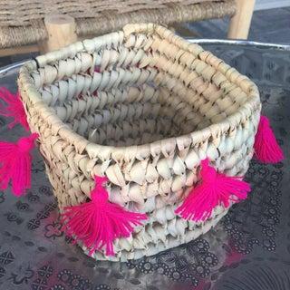 Moroccan Fuchsia Tassel Basket Preview