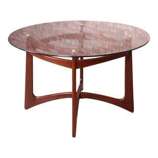 Adrian Pearsall Sculpted Walnut Glass Top Dining Table, Newly Refinished For Sale