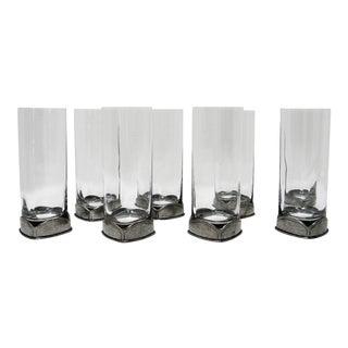 Vintage Pewter-Based Square Cocktail Glasses - Set of 8 For Sale