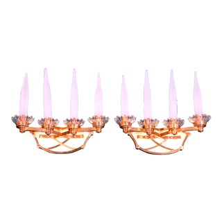 Mid Century Tall Four Lights Brass Sconces, Leleu Style for Maison Lunel, France - a Pair For Sale