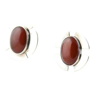 1970s Savitt Silver & Carnelian Earrings For Sale