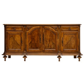 Louis XIV Solid Walnut Marble Top Buffet For Sale