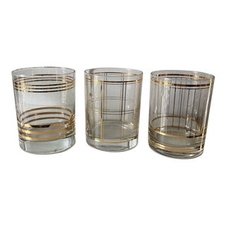 Vintage Glasses With Gold Accent Designs - Set of 3** For Sale