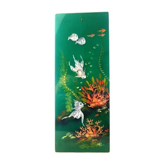 Vintage Mid-Century Green Lacquer Hand-Painted Mother of Pearl Inlay Koi Fish Wall Plaques - Set of 4 Preview