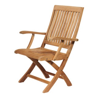 Devon Teak Outdoor Folding Armchair For Sale