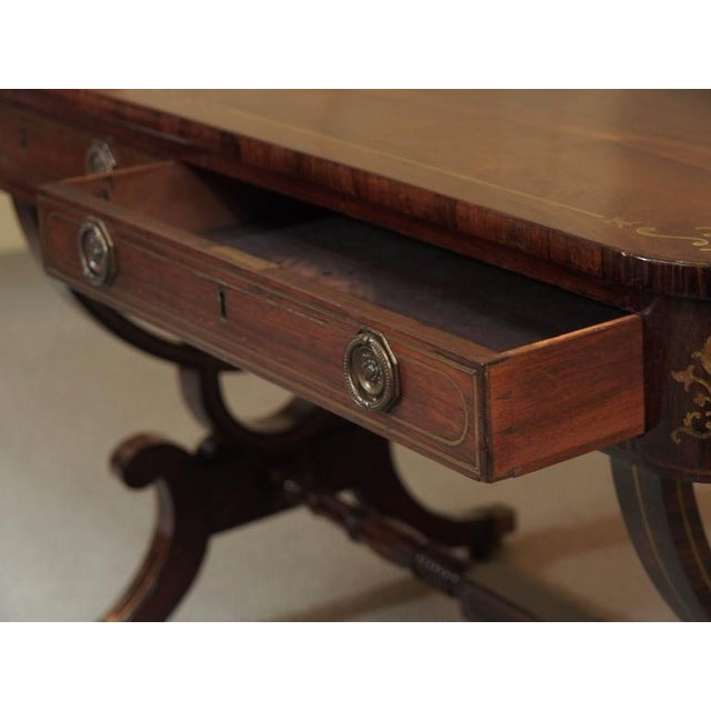 Antique English Regency Rosewood Writing Table, Saber Legs, Brass Inlay For Sale In New Orleans - Image 6 of 10