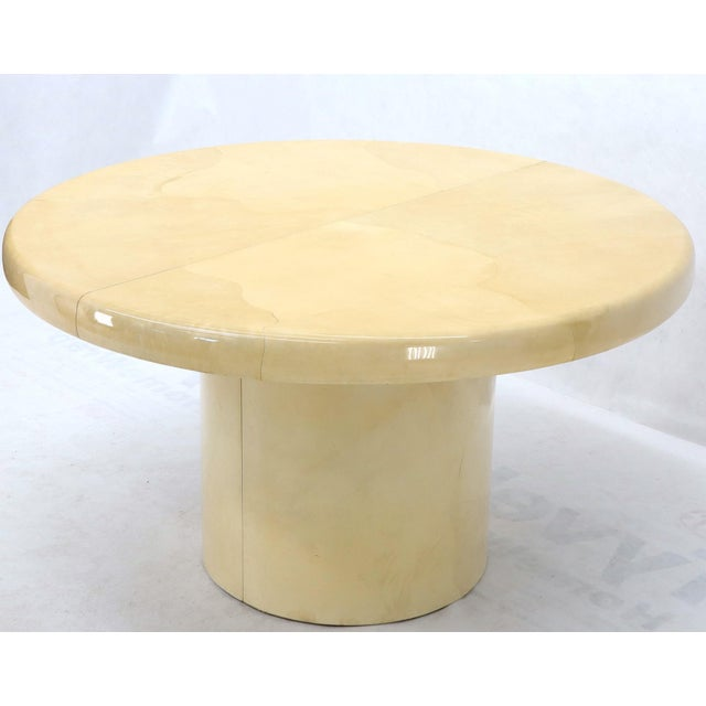 Large Round Lacquered Parchment Goat Skin Cylinder Base Dining Table 2 Leaves For Sale - Image 11 of 13