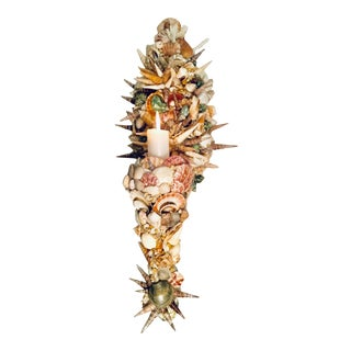 Sea Shell Encrusted Single Candle Wall Sconce For Sale