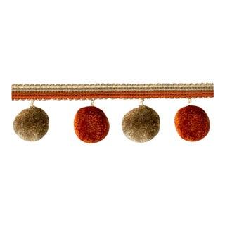 6.75 Yards of Terracotta Pompom Tassel Fringe For Sale