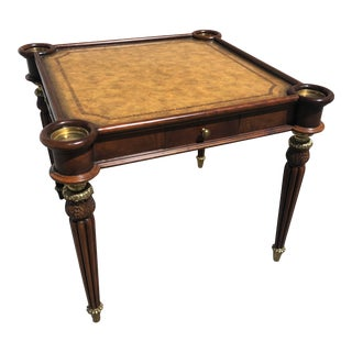 Maitland Smith Signed Mahogany With Leather Top Game Table For Sale