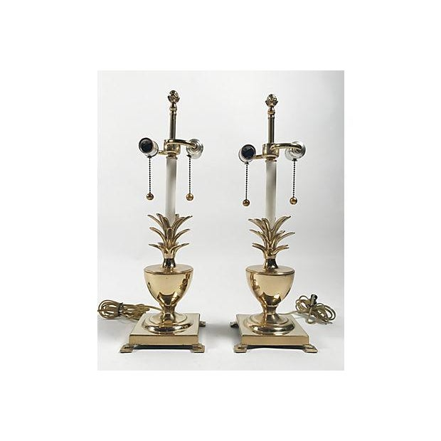 Gold Hollywood Regency Pineapple Lamps - A Pair For Sale - Image 8 of 10