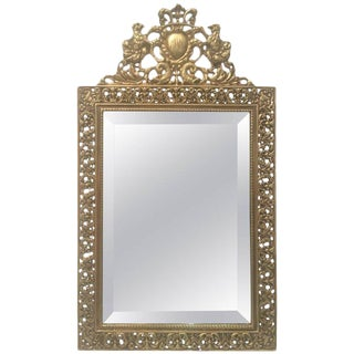 Late 19th Century Antique English Brass Vanity Mirror For Sale