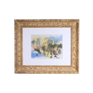 Paul Chidlaw Signed Abstract Crayon Landscape Drawing For Sale