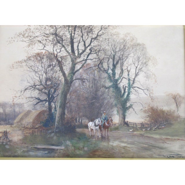 Antique watercolor painting on paper by Charles Henry Fox, English, 1860 - 1929. Farm landscape shows man with 2 horses....