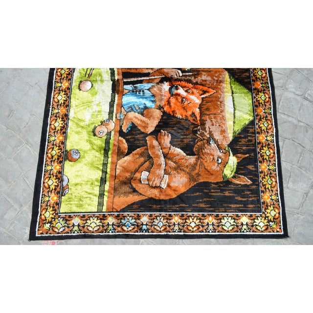 Vintage - Dogs Playing Pool - Wall Tapestry Wall Rug - 49ʺ X 70ʺ For Sale In Raleigh - Image 6 of 10