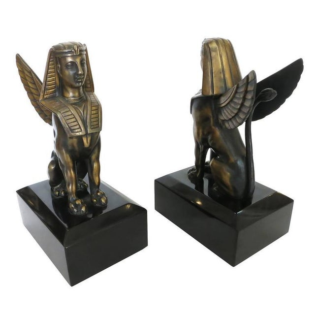 Egyptian Style Bronze Sphinx Griffin Bookends For Sale - Image 4 of 9