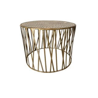 Boho Chic Mr. Brown Gold Hammered Accent Table For Sale