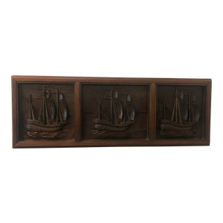 "Mid-Century ""Three Ships"" Wood Carved Art Work For Sale"