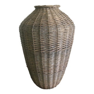 Vintage Mid Century Modern Urn Shaped Wicker Basket For Sale