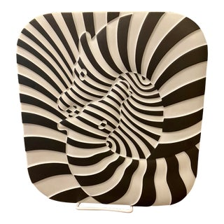 Victor Vasarely Jahresteller Op Art Plaque Wall Sculpture For Sale