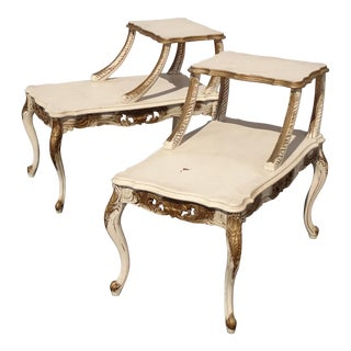 Pair Vintage French Provincial Off White & Gold 2 Tier End Tables For Sale