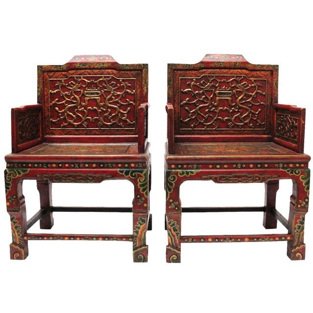 Vintage Tibetan Hand-Painted Chairs - A Pair For Sale